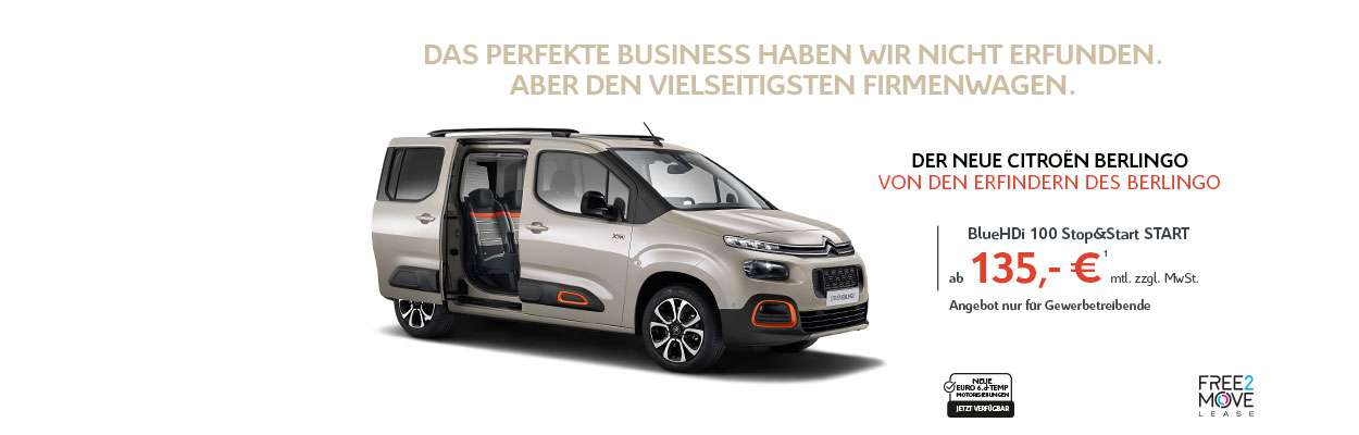 Neuer Citroën Berlingo Businessangebot Oktober 2018